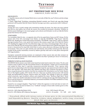Textbook Page-Turner Oakville Proprietary Red WineTechnical Note